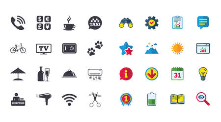 Set of Hotel services icons. Phone call, Wifi internet and Currency exchange signs. Coffee, Wine bottle and Air conditioning symbols. Calendar, Report and Browser window signs. Vector Illustration