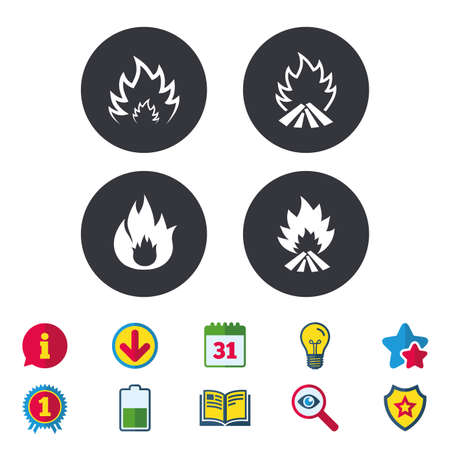 Fire flame icons. Heat symbols. Inflammable signs. Calendar, Information and Download signs. Stars, Award and Book icons. Light bulb, Shield and Search. Vector Banco de Imagens - 82181432