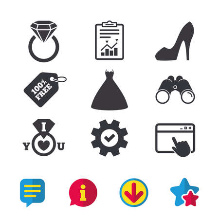 Wedding dress icon. Womens shoe symbol. Wedding or engagement day ring with diamond sign. Browser window, Report and Service signs. Binoculars, Information and Download icons. Stars and Chat. Vector