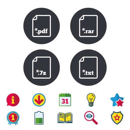 Download document icons. File extensions symbols. PDF, RAR, 7z and TXT signs. Calendar, Information and Download signs. Stars, Award and Book icons. Light bulb, Shield and Search. Vector Stock Vector - 82182792