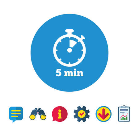 interval: Timer sign icon. 5 minutes stopwatch symbol. Information, Report and Speech bubble signs. Binoculars, Service and Download icons. Vector
