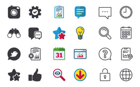 Hipster photo camera icon. Like and Chat speech bubble sign. Bird symbol. Chat, Report and Calendar signs. Stars, Statistics and Download icons. Question, Clock and Globe. Vector Çizim