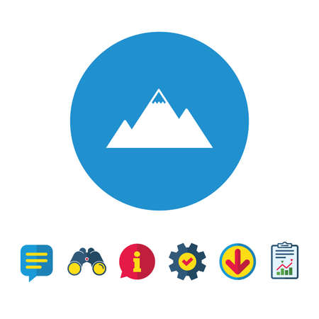 Mountain icon. Mountaineering sport sign. Leadership motivation concept. Information, Report and Speech bubble signs. Binoculars, Service and Download icons. Vector