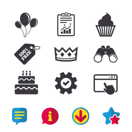 burning: Birthday crown party icons. Cake and cupcake signs. Air balloons with rope symbol. Browser window, Report and Service signs. Binoculars, Information and Download icons. Stars and Chat. Vector Illustration