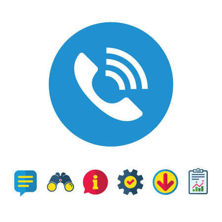 Phone sign icon. Support symbol. Call center. Information, Report and Speech bubble signs. Binoculars, Service and Download icons. Vector