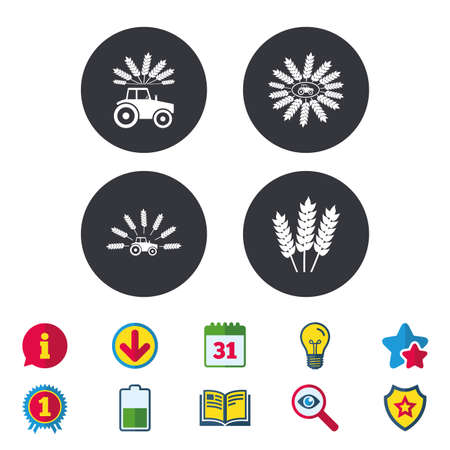 grain: Tractor icons. Wreath of Wheat corn signs. Agricultural industry transport symbols. Calendar, Information and Download signs. Stars, Award and Book icons. Light bulb, Shield and Search. Vector