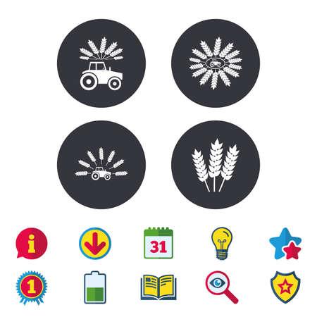 Traktor-Symbole. Kranz aus Weizen Mais Zeichen. Landwirtschaftliche Verkehrssymbole. Kalender, Information und Download-Zeichen. Sterne, Auszeichnung und Buch Symbole. Glühbirne, Schild und Suche. Vektor Standard-Bild - 82181580