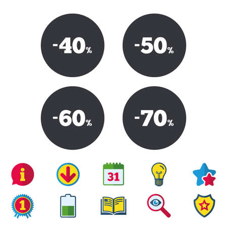 Sale discount icons. Special offer price signs. 40, 50, 60 and 70 percent off reduction symbols. Calendar, Information and Download signs. Stars, Award and Book icons. Light bulb, Shield and Search Çizim