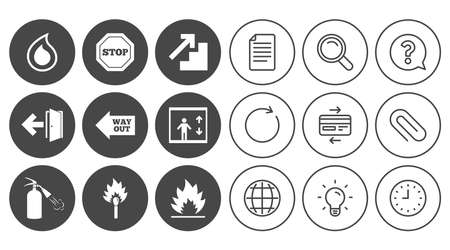 Fire safety, emergency icons. Fire extinguisher, exit and stop signs. Elevator, water drop and match symbols. Document, Globe and Clock line signs. Lamp, Magnifier and Paper clip icons. Vector