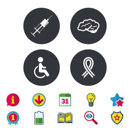 Medicine icons. Syringe, disabled, brain and ribbon signs. Breast cancer awareness symbol. Handicapped invalid. Calendar, Information and Download signs. Stars, Award and Book icons. Vector