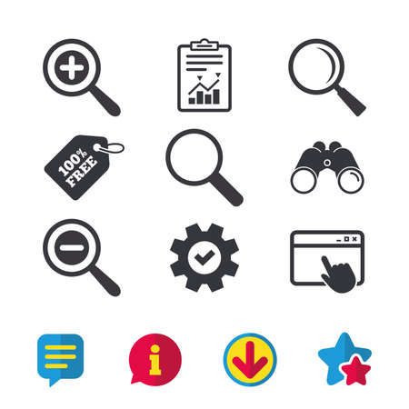 Magnifier glass icons. Plus and minus zoom tool symbols. Search information signs. Browser window, Report and Service signs. Binoculars, Information and Download icons. Stars and Chat. Vector 版權商用圖片 - 82181608