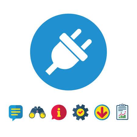 전기 플러그 기호 아이콘입니다. 전원 에너지 기호입니다. 정보,보고 및 연설 거품 신호. 쌍안경, 서비스 및 다운로드 아이콘. 벡터 일러스트