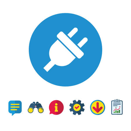Electric plug sign icon. Power energy symbol. Information, Report and Speech bubble signs. Binoculars, Service and Download icons. Vector