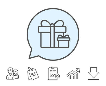 Gift boxes line icon. Present or Sale sign. Birthday Shopping symbol. Package in Gift Wrap. Report, Sale Coupons and Chart line signs. Download, Group icons. Editable stroke. Vector