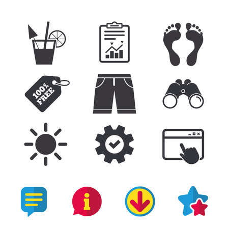 Beach holidays icons. Cocktail, human footprints and swimming trunks signs. Summer sun symbol. Browser window, Report and Service signs. Binoculars, Information and Download icons. Stars and Chat