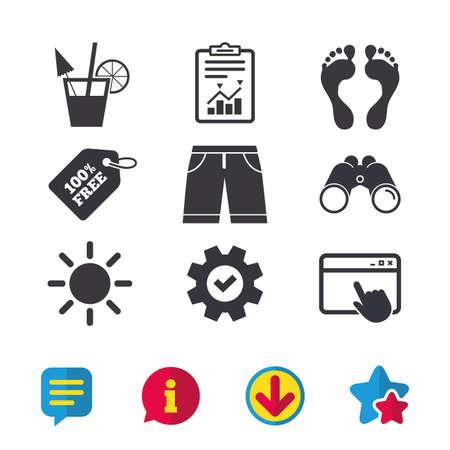 Strandvakanties pictogrammen. Cocktail, menselijke voetafdrukken en zwembroek tekenen. Zomerzon symbool. Browservenster, rapport en serviceborden. Verrekijker, informatie en download pictogrammen. Sterren en chatten Stock Illustratie
