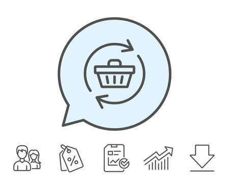 Update Shopping cart line icon. Online buying sign. Supermarket basket symbol. Report, Sale Coupons and Chart line signs. Download, Group icons. Editable stroke. Vector