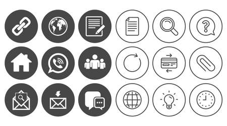Communication icons. Contact, mail signs. E-mail, call phone and group symbols. Document, Globe and Clock line signs. Lamp, Magnifier and Paper clip icons. Question, Credit card and Refresh. Vector Illustration