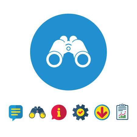 Verrekijker pictogram. Zoek softwareteken. Spion apparatuur symbool. Informatie-, rapport- en tekstballonborden. Verrekijker, service en download pictogrammen. Vector
