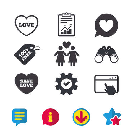 Lesbians couple sign. Speech bubble with heart icon. Female love female. Heart symbol. Browser window, Report and Service signs. Binoculars, Information and Download icons. Stars and Chat. Vector