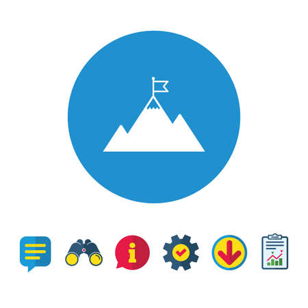 Flag on mountain icon. Leadership motivation sign. Mountaineering symbol. Information, Report and Speech bubble signs. Binoculars, Service and Download icons. Vector Illustration