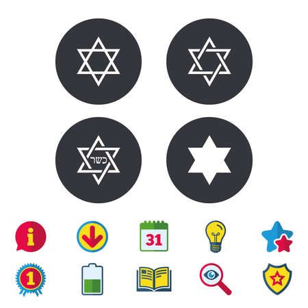 Star of David sign icons. Symbol of Israel. Calendar, Information and Download signs. Stars, Award and Book icons. Light bulb, Shield and Search. Vector