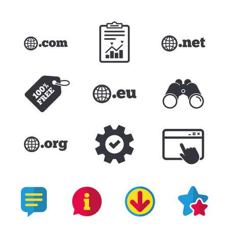 최상위 인터넷 도메인 아이콘. com, Eu, Net 및 Org 기호 글로브와 함께. 고유 한 DNS 이름. 브라우저 창, 보고서 및 서비스 표지판. 쌍안경, 정보 및 다운로드