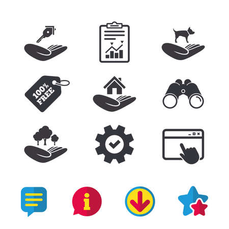 Helping hands icons. Shelter for dogs symbol. Home house or real estate and key signs. Save nature forest. Browser window, Report and Service signs. Binoculars, Information and Download icons. Vector Illustration