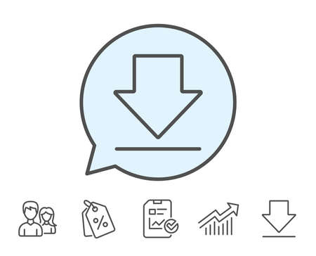 Download line icon. Internet Downloading sign. Load file symbol. Report, Sale Coupons and Chart line signs. Download, Group icons. Editable stroke. Vector Ilustrace