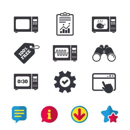 전자 렌지 아이콘입니다. 전기 스토브 기호로 요리하십시오. 타이머 표지판과 닭고기를 그릴. 브라우저 창, 보고서 및 서비스 표지판. 쌍안경, 정보 및