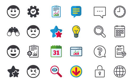 smiley: Circle smile face icons. Happy, sad, cry signs. Happy smiley chat symbol. Sadness depression and crying signs. Chat, Report and Calendar signs. Stars, Statistics and Download icons. Vector