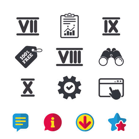 Roman numeral icons. 7, 8, 9 and 10 digit characters. Ancient Rome numeric system. Browser window, Report and Service signs. Binoculars, Information and Download icons. Stars and Chat. Vector Illustration