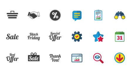 Sale discounts icon. Shopping, handshake and black friday signs. Special offer symbols. Calendar, Report and Download signs. Stars, Service and Search icons. Statistics, Binoculars and Chat. Vector Illustration