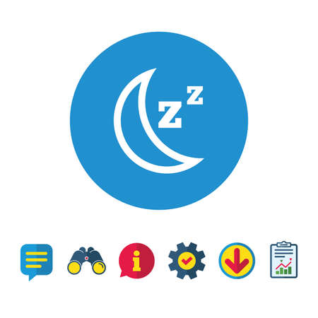 Sleep sign icon. Moon with zzz button. Standby. Information, Report and Speech bubble signs. Binoculars, Service and Download icons. Vector
