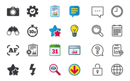 Photo camera icon. Flash light and autofocus AF symbols. Stopwatch timer 10 seconds sign. Chat, Report and Calendar signs. Stars, Statistics and Download icons. Question, Clock and Globe. Vector Ilustração