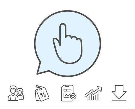 Hand Click line icon. Finger touch sign. Cursor pointer symbol. Report, Sale Coupons and Chart line signs. Download, Group icons. Editable stroke. Vector Ilustração