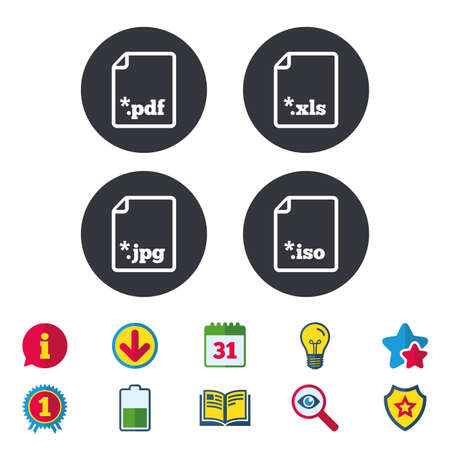 Download document icons. File extensions symbols. PDF, XLS, JPG and ISO virtual drive signs. Calendar, Information and Download signs. Stars, Award and Book icons. Light bulb, Shield and Search