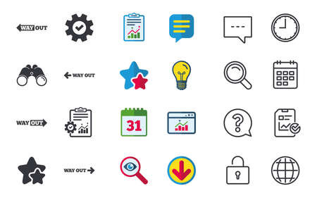 Way out icons. Left and right arrows symbols. Direction signs in the subway. Chat, Report and Calendar signs. Stars, Statistics and Download icons. Question, Clock and Globe. Vector