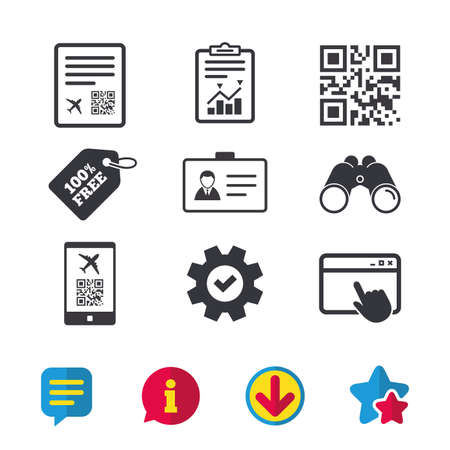 QR scan code in smartphone icon. Boarding pass flight sign. Identity ID card badge symbol. Browser window, Report and Service signs. Binoculars, Information and Download icons. Stars and Chat. Vector