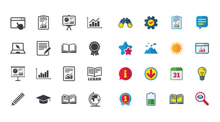 Set of Statistics, Education and Study icons. Presentation, Report and Book signs. Analytics, Pencil and Award medal symbols. Calendar, Report and Browser window signs. Vector Illustration