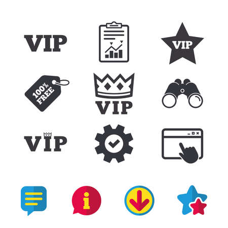 VIP icons. Very important person symbols. King crown and star signs. Browser window, Report and Service signs. Binoculars, Information and Download icons. Stars and Chat. Vector