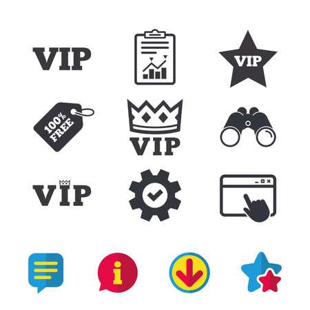 VIP-pictogrammen. Zeer belangrijke personensymbolen. Koningkroon en sterrenbeelden. Browservenster, rapport en serviceborden. Verrekijker, informatie en download pictogrammen. Sterren en chatten. Vector Stockfoto - 82183260