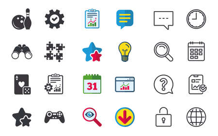 Bowling and Casino icons. Video game joystick and playing card with puzzles pieces symbols. Entertainment signs. Chat, Report and Calendar signs. Stars, Statistics and Download icons. Vector