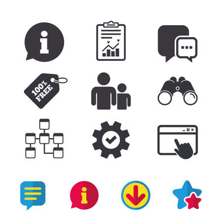 Information sign. Group of people and database symbols. Chat speech bubbles sign. Communication icons. Browser window, Report and Service signs. Binoculars, Information and Download icons. Vector