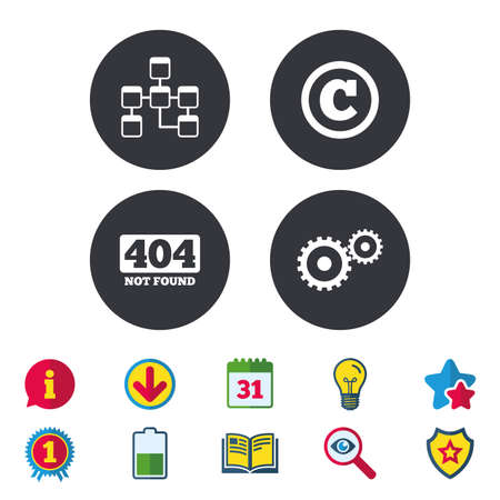 page not found: Website database icon. Copyrights and gear signs. 404 page not found symbol. Under construction. Calendar, Information and Download signs. Stars, Award and Book icons. Light bulb, Shield and Search