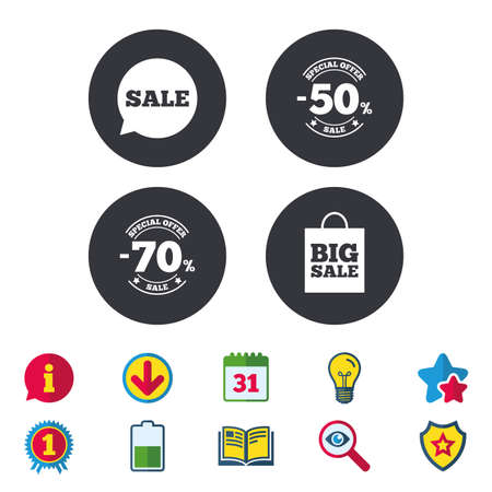 Sale speech bubble icon. 50% and 70% percent discount symbols. Big sale shopping bag sign. Calendar, Information and Download signs. Stars, Award and Book icons. Light bulb, Shield and Search. Vector