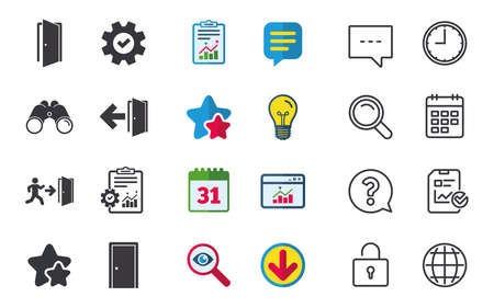 Doors icons. Emergency exit with human figure and arrow symbols. Fire exit signs. Chat, Report and Calendar signs. Stars, Statistics and Download icons. Question, Clock and Globe. Vector