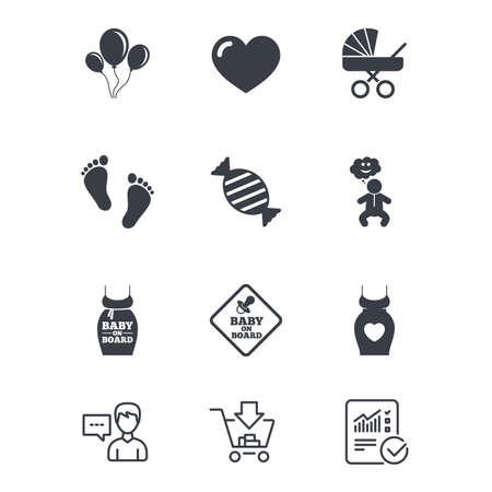 Pregnancy, maternity and baby care icons. Newborn, strollers and pacifier signs. Footprint, candy and love symbols. Customer service, Shopping cart and Report line signs. Vector