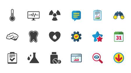 医学、医療健康診断アイコン。血寄付、温度計と錠剤の兆候。歯、神経のシンボル。カレンダー、レポートおよびダウンロードの兆候。つ星の評価