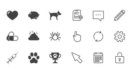 Veterinary, pets icons. Dog paw, syringe and winner cup signs. Pills, heart and feces symbols. Chat, Report and Calendar line signs. Service, Pencil and Locker icons. Click, Rotation and Cursor Çizim
